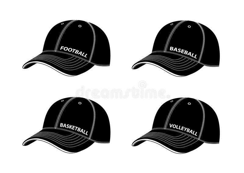 Baseball caps with inscriptions of different sports.Vector illustration on a white background. vector illustration