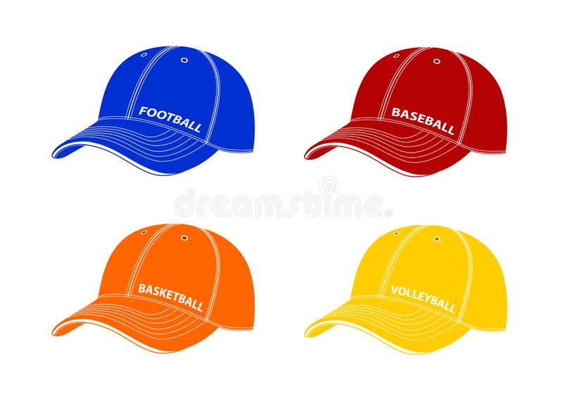 Baseball caps with inscriptions of different sports.Vector illustration on a white background. stock illustration