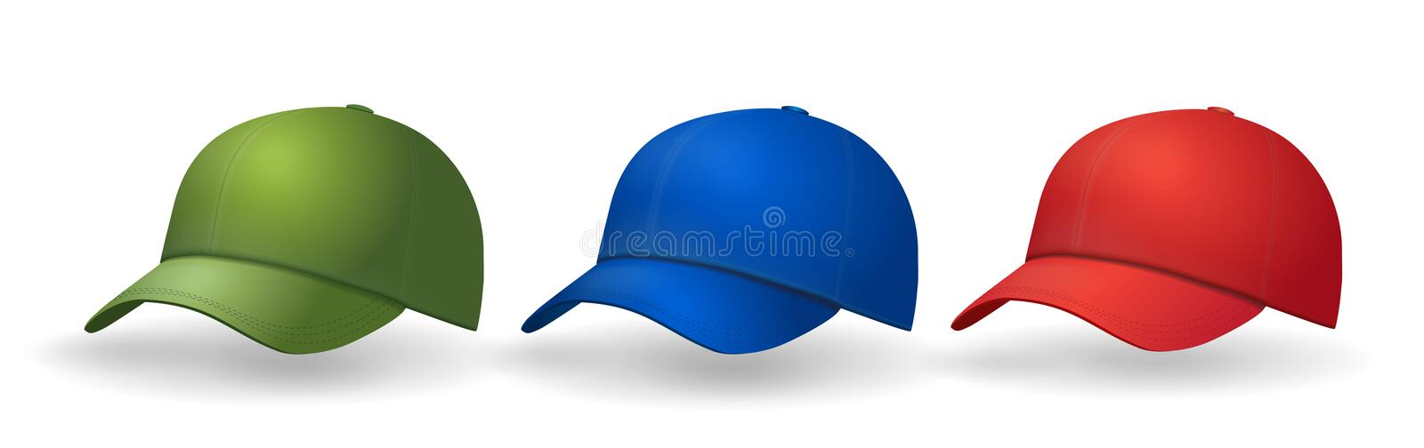 Baseball caps set Realistic hat collection royalty free illustration
