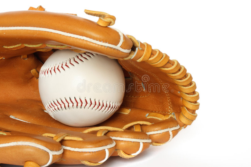 Baseball catcher mitt with ball stock photography