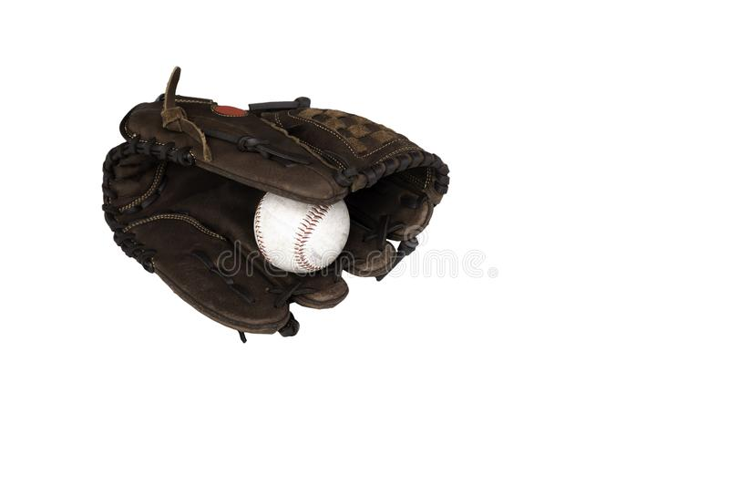 Baseball catcher mitt with ball isolated on white background. stock photography