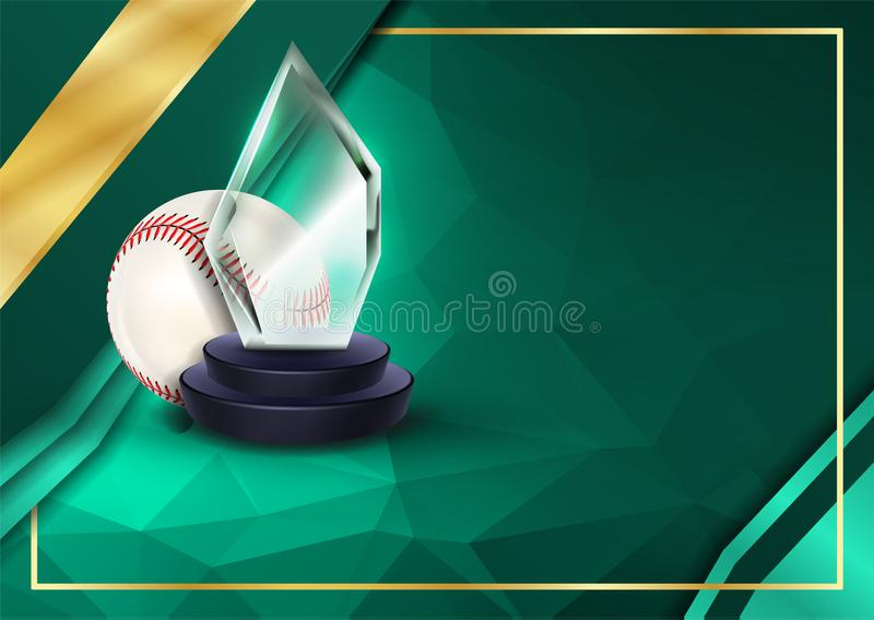 Baseball Certificate Diploma with Glass Trophy Vector Sportdiploma Elegant document Luxepapier A4 Horizontaal stock illustratie