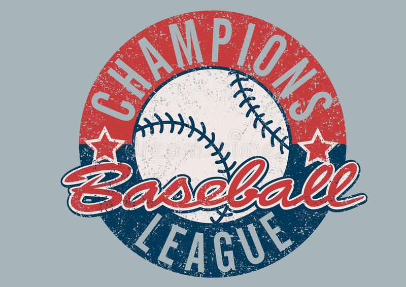 Baseball Champions league distressed print stock images