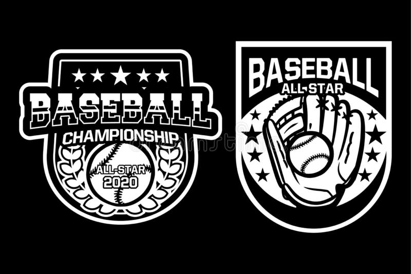 Baseball championship all star badge logo emblem template collection black and white royalty free stock photos