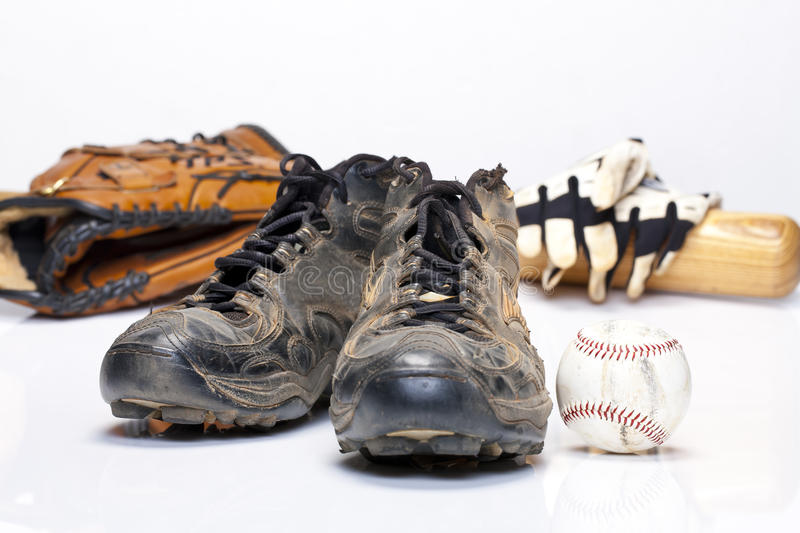 Baseball Cleats. Used baseball cleats against a white background stock photos