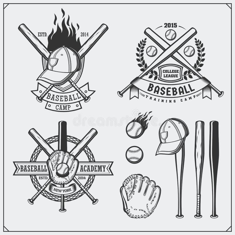 Baseball club emblems, labels and design elements. Baseball player, balls, helmets and bats. Baseball player, ball, helmet, glove. And bat. Black and white royalty free illustration