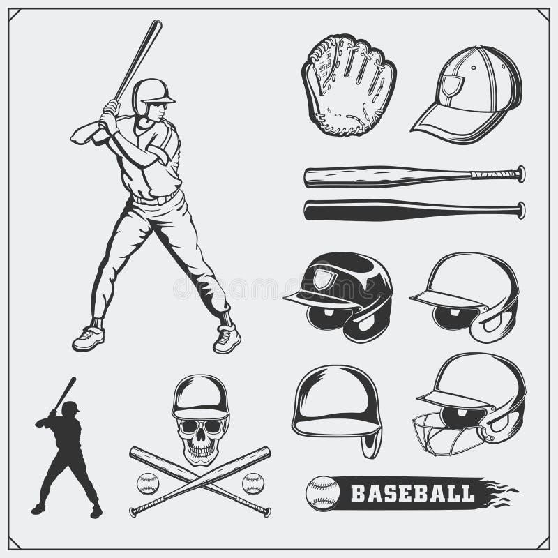 Baseball club emblems, labels and design elements. Baseball player, balls, helmets and bats. Baseball player, helmet, glove. Baseball club emblems, labels and royalty free illustration