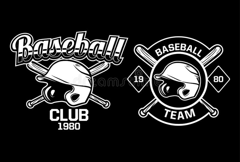 Baseball club team badge logo emblem template collection black and white 1980 stock photos