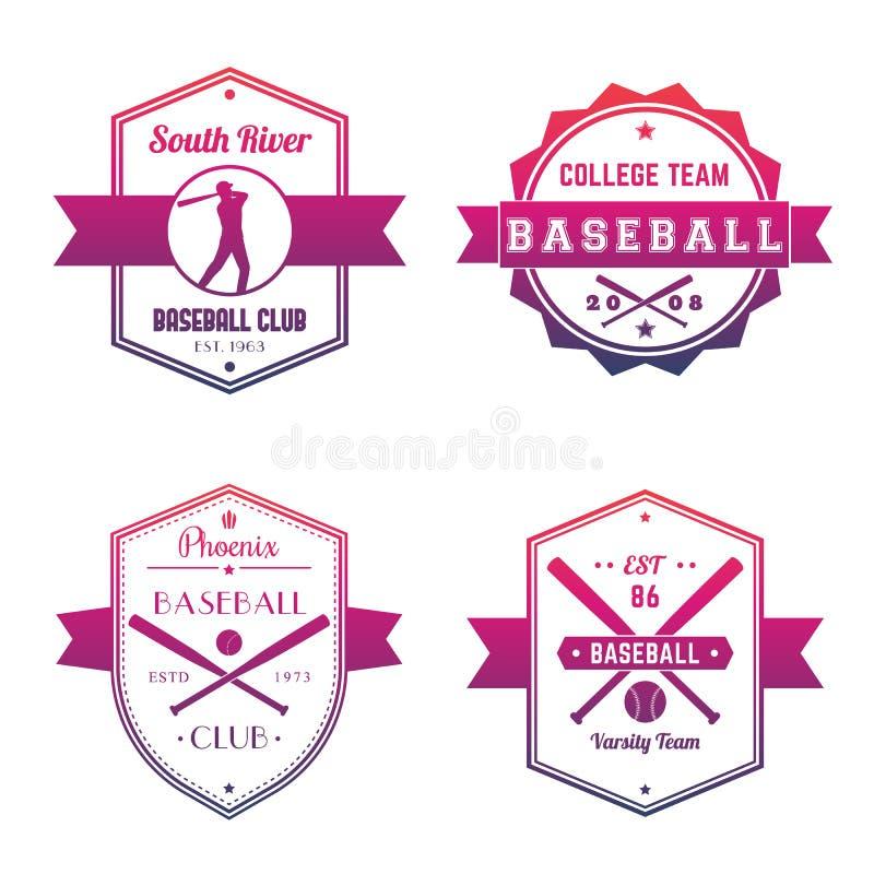 Baseball club, team logo, badges, emblems. Over white, eps 10 file, easy to edit royalty free illustration