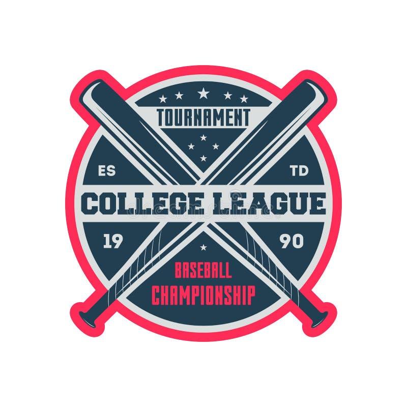 Baseball college league vintage label royalty free illustration