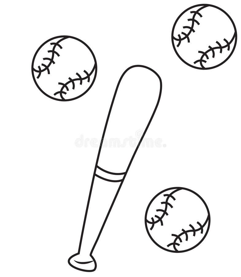 Baseball coloring page stock illustration. Illustration of elements ...