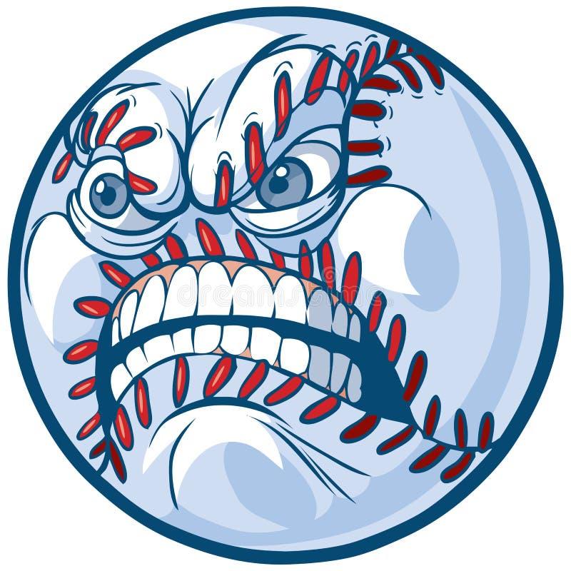 Baseball con l'illustrazione arrabbiata del fumetto di vettore del fronte illustrazione vettoriale