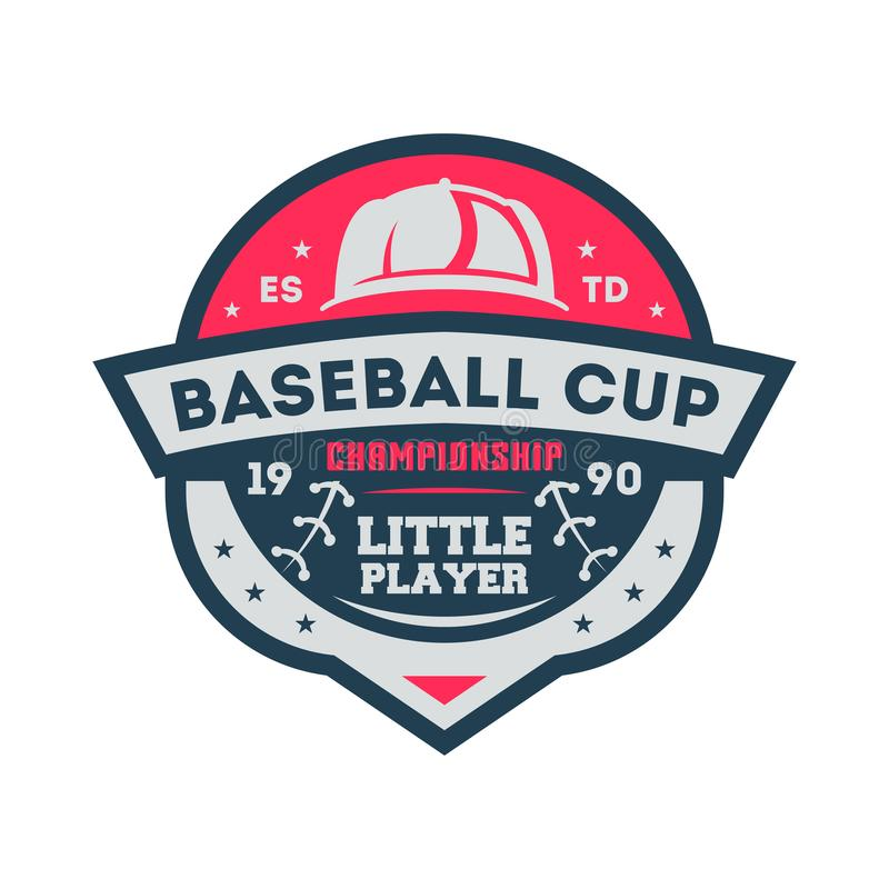 Baseball cup for little player vintage label royalty free illustration
