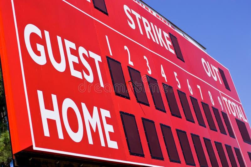 baseball czerwonym tablica wyników zdjęcia stock