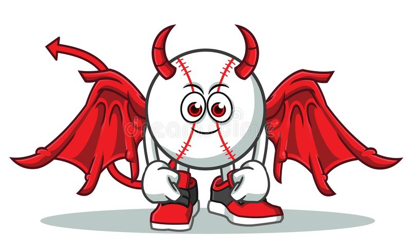 Baseball devil mascot vector cartoon illustration royalty free illustration