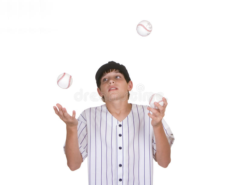 Baseball di manipolazione del ragazzo immagine stock libera da diritti