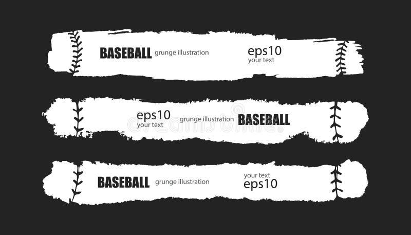 Baseball di vettore La raccolta del lerciume ha strappato le bande per gli sport per testo, allacciamento Bandiere orizzontali as illustrazione vettoriale