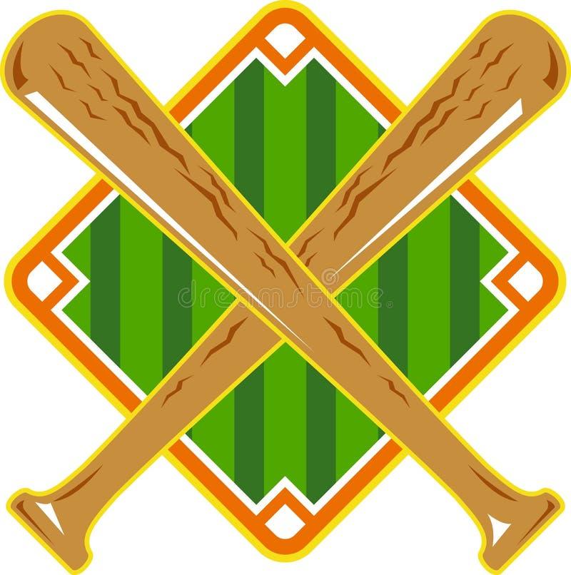 Baseball-Diamant-gekreuzter Hieb Retro- vektor abbildung