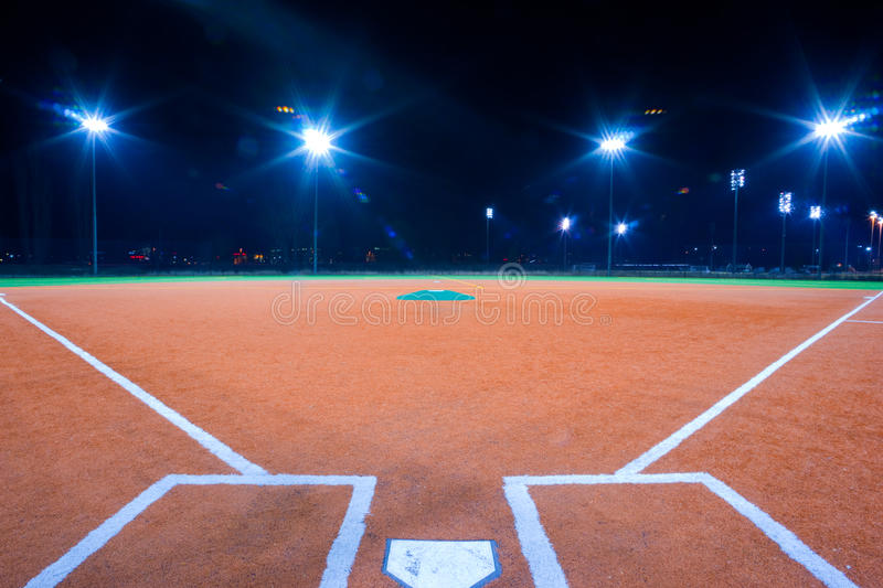 Baseball diamond at night royalty free stock image