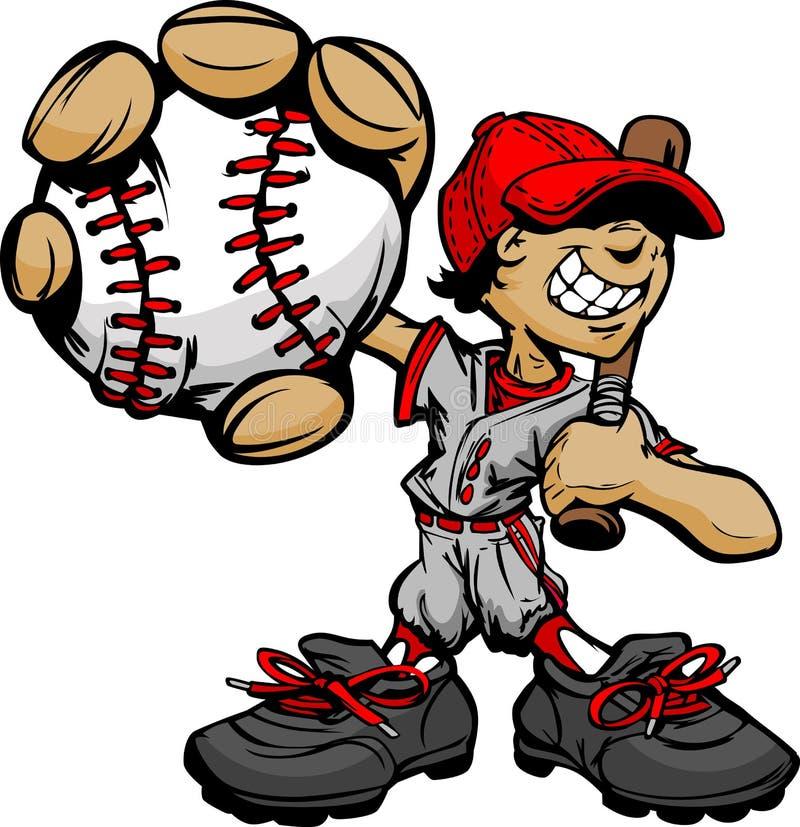 Baseball e blocco della holding del giocatore di baseball del bambino illustrazione di stock