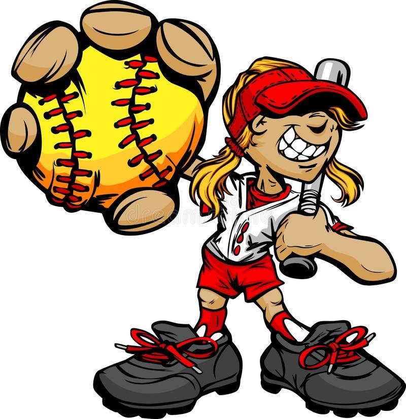 Baseball e blocco della holding del giocatore di softball del bambino illustrazione vettoriale