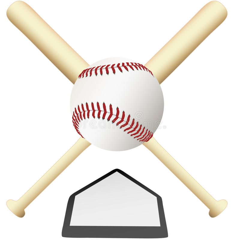 Free Baseball Emblem Crossed Bats Over Home Plate Stock Image - 10991181