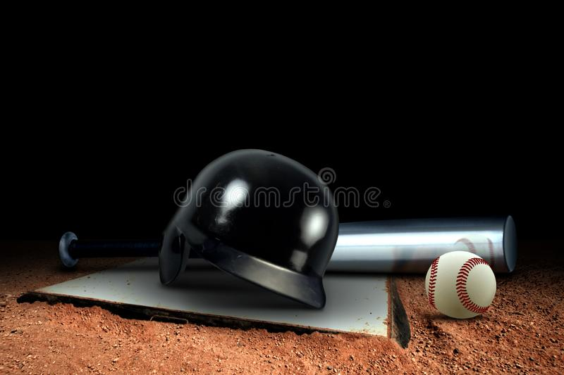 Baseball Equipment And Base On The Field Stock Photos