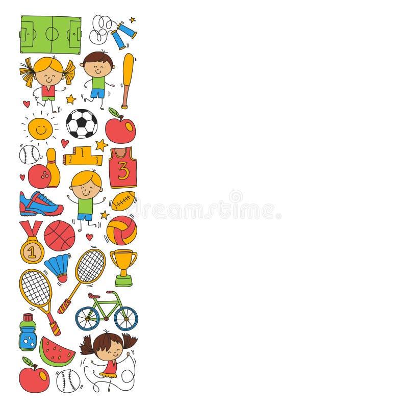 Baseball för utmärkelsen för spring för cykeln för basket för tennis för volleyboll för fotboll för barnsportkondition lurar spor royaltyfri illustrationer