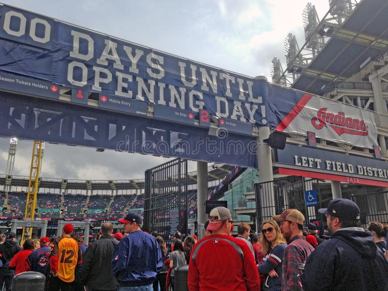 Baseball fans on opening day at Progressive Field in Cleveland, Ohio, USA. Cleveland Indians baseball fans enter Progressive Field for the home opener in royalty free stock photography