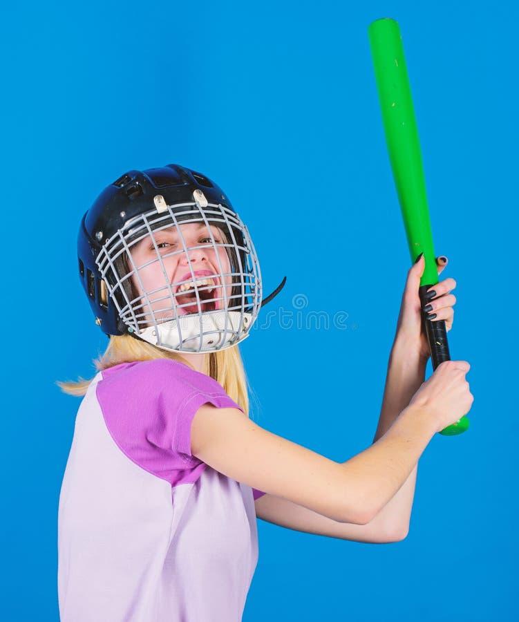 Baseball female player concept. Ready repel attack. Woman enjoy play baseball game. Woman in baseball sport. Girl royalty free stock photos