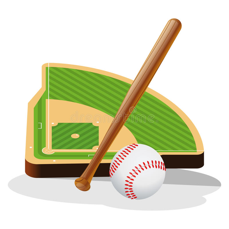 Baseball Field and Ball Vector Illustration stock illustration