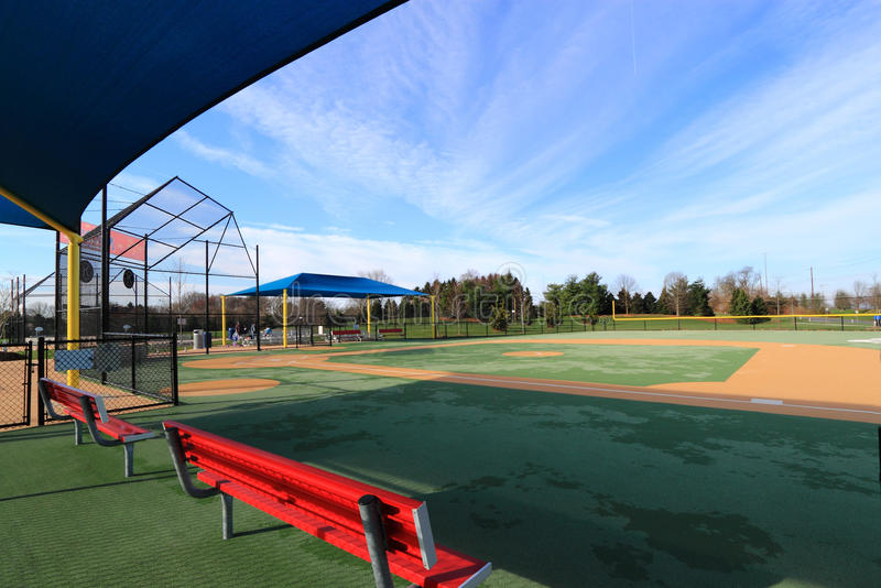 Sports Field. Grand view of an Empty Baseball sports Field with benches stock image
