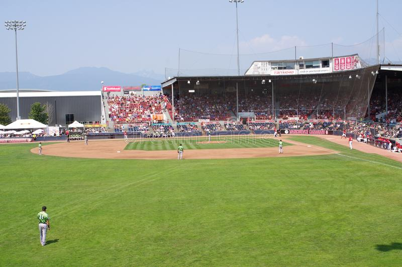 Baseball field at Nat Bailey Stadium. In Vancouver during minor league baseball game between Vancouver Canadians and Eugene Emeralds royalty free stock images