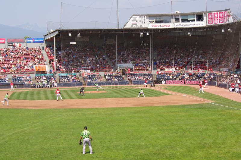 Baseball field at Nat Bailey Stadium. In Vancouver during minor league baseball game between Vancouver Canadians and Eugene Emeralds stock photography