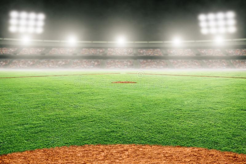 Baseball Field in Outdoor Stadium With Copy Space. Baseball field at brightly lit outdoor stadium. Focus on foreground and shallow depth of field on background stock illustration
