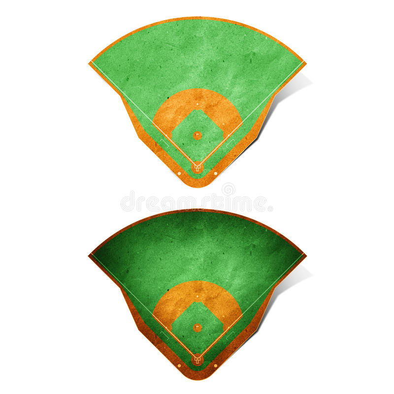 Baseball field recycled paper. Craft stick on white background royalty free stock image