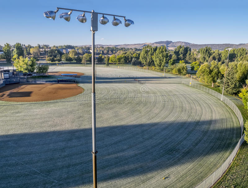 Baseball fields covered by frost stock images