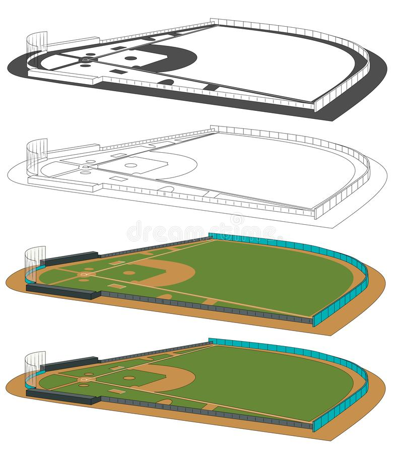 Baseball fields vector illustration. Infographics for web pages, sports broadcasts, strategies backgrounds. Four fields with side view. Color, black and white stock illustration