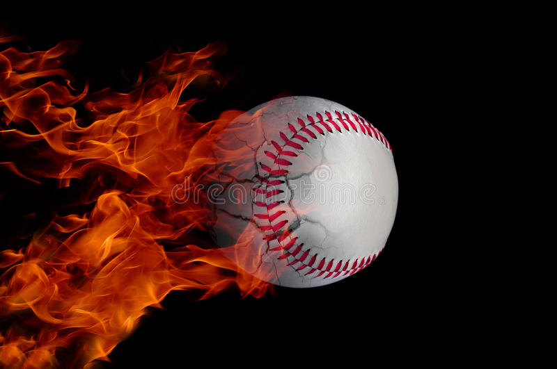 Baseball on fire. Baseball at high speed catching fire and burning stock photography