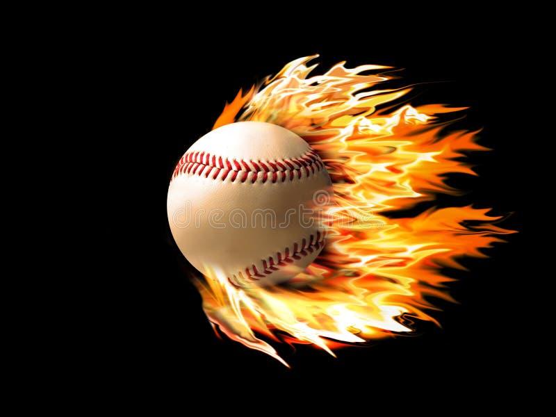 Baseball on fire. On a black background royalty free illustration