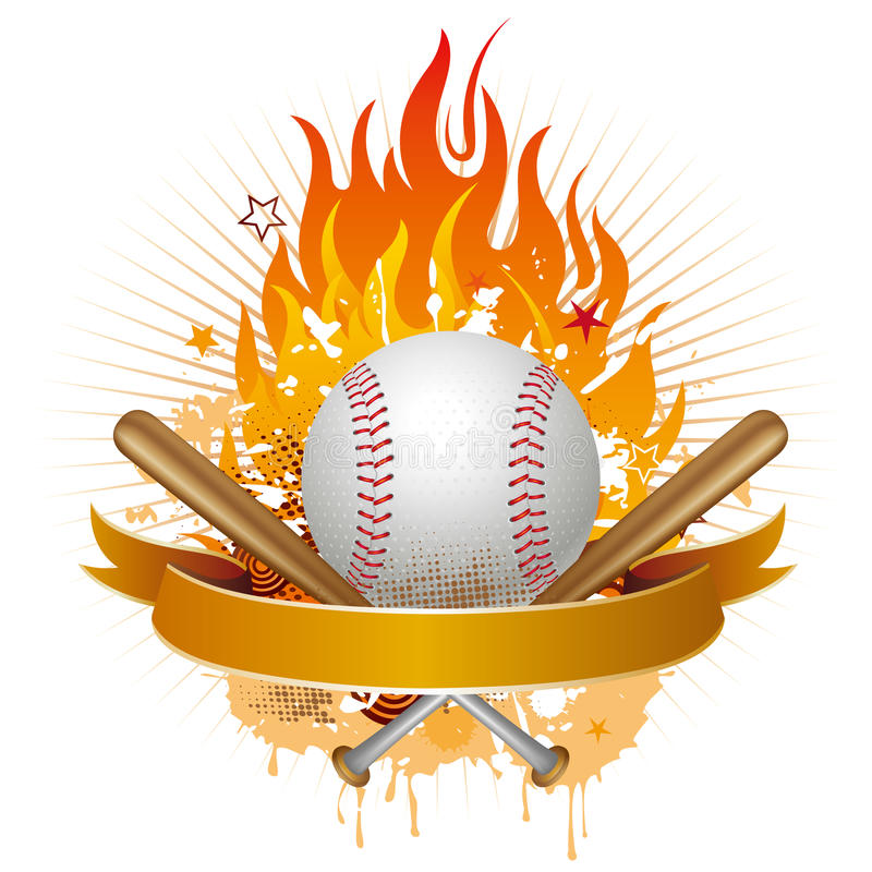 baseball with flames stock illustration