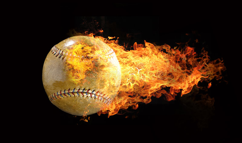 Baseball on flames royalty free illustration