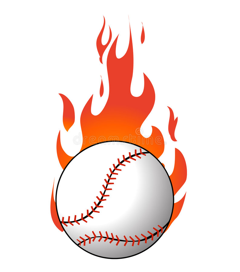 Baseball with flames vector stock illustration