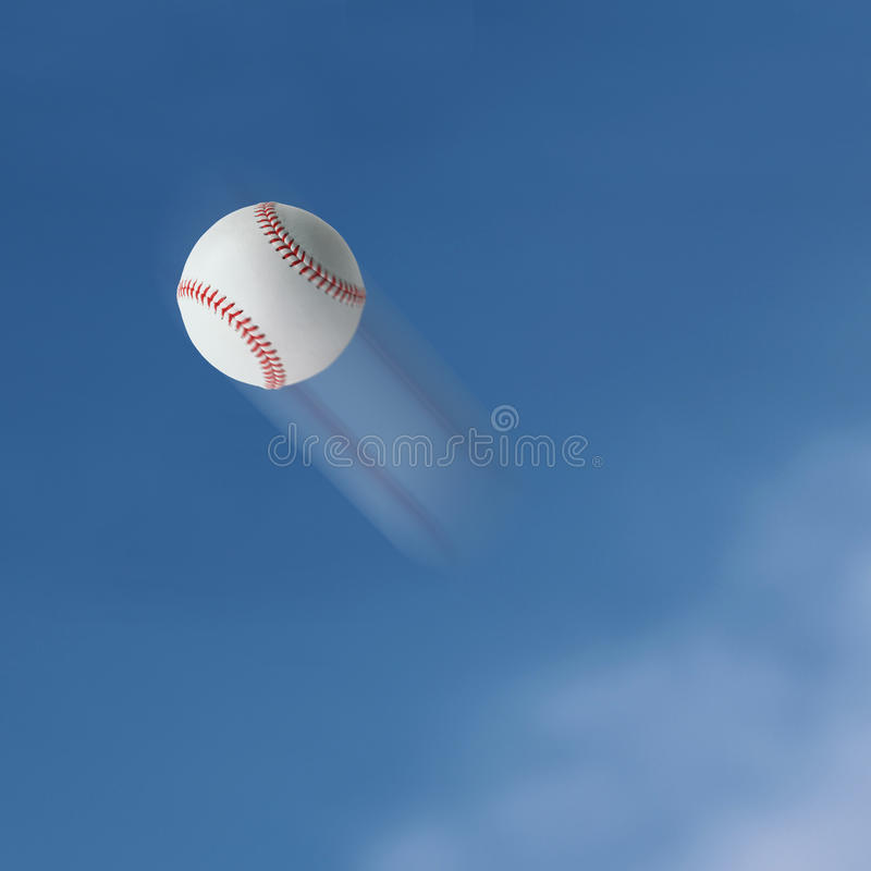 Baseball. Flying into the sky stock photography