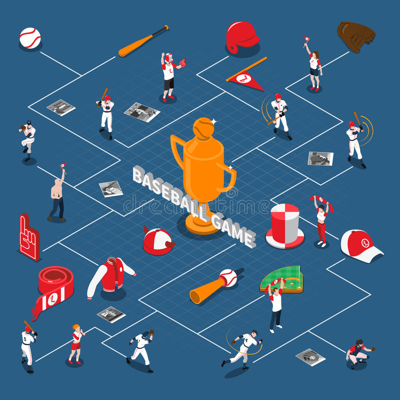 Baseball Game Isometric Flowchart. With players and fans with attributes sports equipment on blue background vector illustration stock illustration