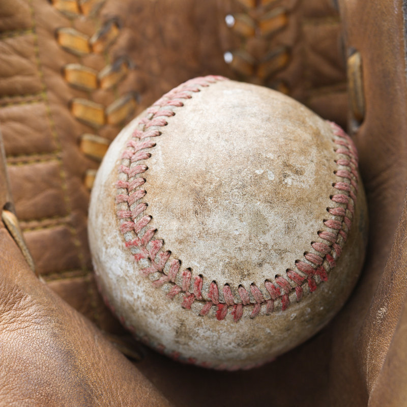 Baseball in glove. stock photography