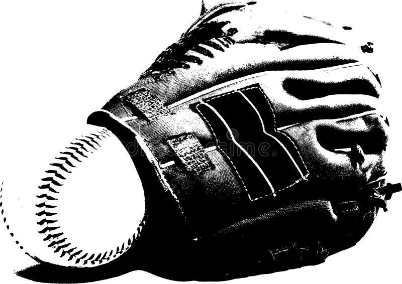 Baseball glove. In black and white stock illustration