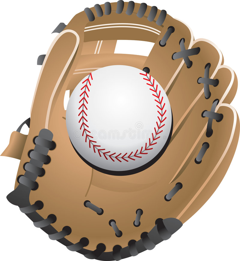 Baseball in glove vector illustration
