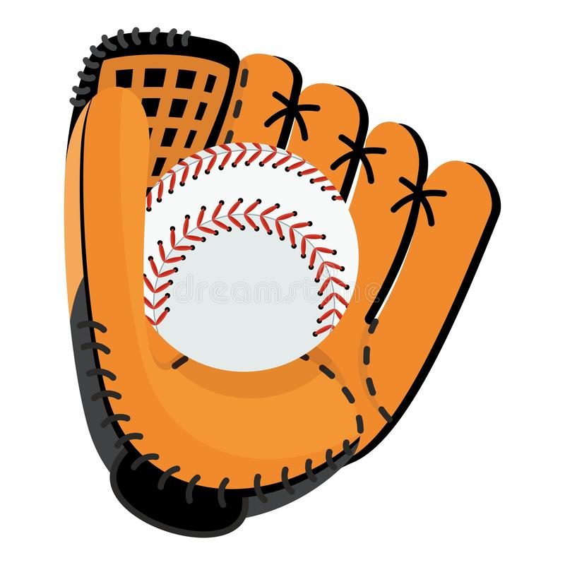 Baseball glove with ball stock illustration
