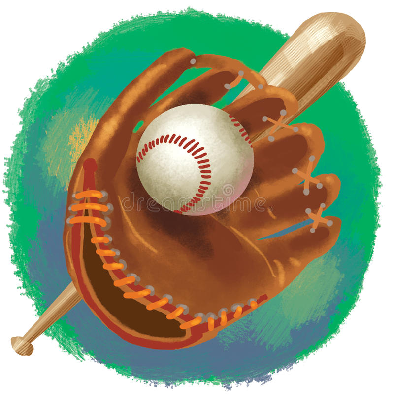 Baseball glove with bat and ball royalty free stock photos